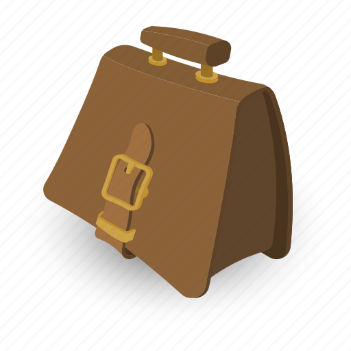 bag, briefcase, brown, business, handle, leather, suitcase icon