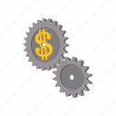 business, cartooon, clockwork, dollar, finance, gear, time icon