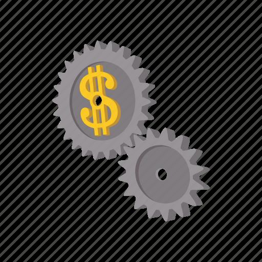 business, cartooon, clockwork, dollar, finance, gear, time icon
