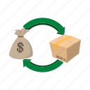 bank, business, cartoon, exchange, finance, investment, money icon