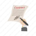 agreement, business, cartoon, contract, document, paper, pen icon