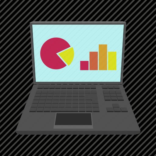 cartoon, chart, concept, graph, monitor, screen, technology icon