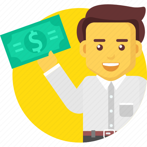 business, businessman, character, dollar, money, profit icon