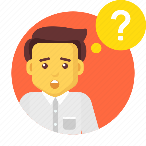 ask, business, businessman, character, faq, question icon