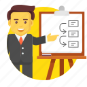 business, businessman, meeting, plan, strategy, workflow icon