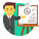 business, businessman, character, growth, presentation, report icon