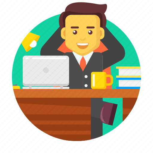 business, businessman, character, desk, office, working icon