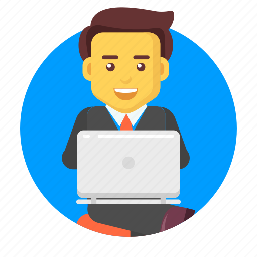 business, businessman, character, laptop, online, working icon