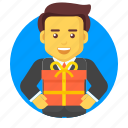 business, businessman, character, gift, package icon