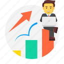 business, character, graph, growing, growth, profit icon