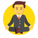 business, businessman, character, meditation, sitting, yoga icon