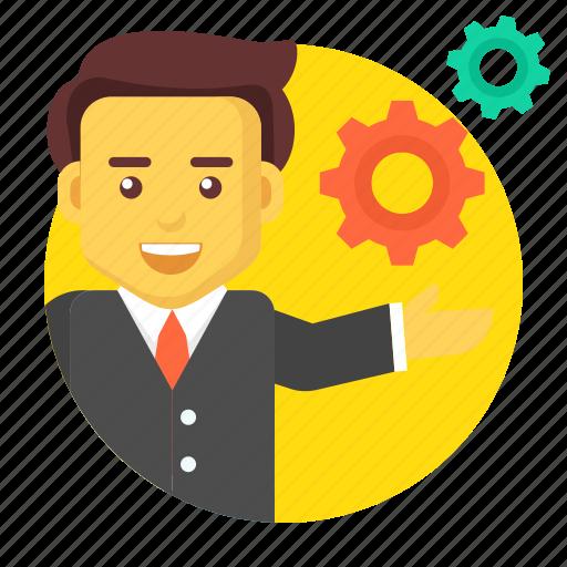 business, business solution, businessman, gear, management icon