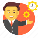 business, businessman, management, manager, setting, time icon