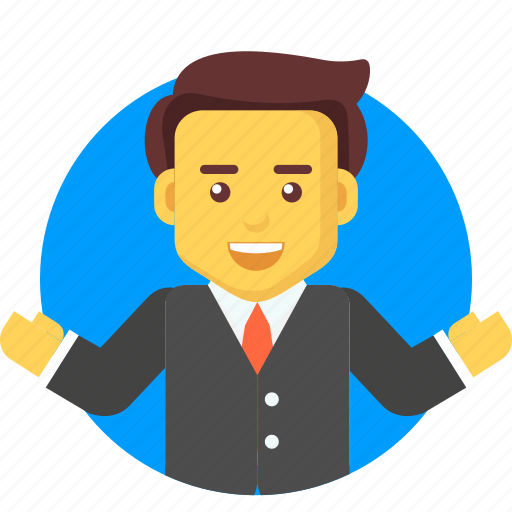 business, businessman, character, invite, joy, welcome icon