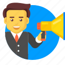 advertising, announce, announcement, business, businessman icon