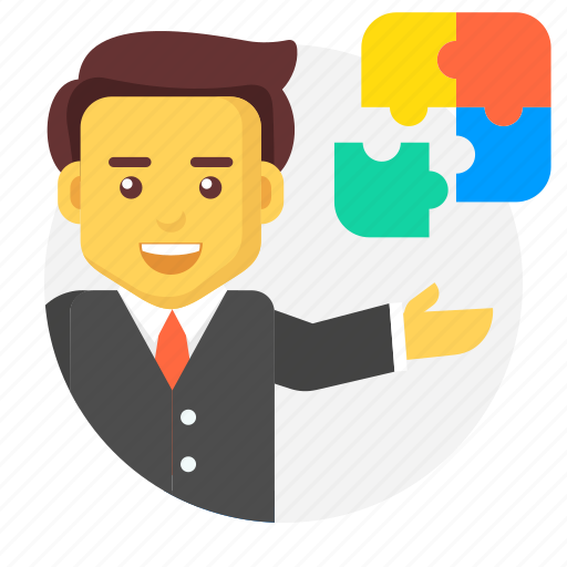 business, businessman, character, integration, puzzle, solution icon