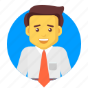 avatar, business, businessman, happy, salesman, user icon