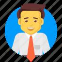 avatar, business, businessman, happy, salesman, user