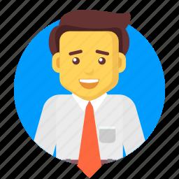 avatar, business, businessman, happy, salesman, user icon