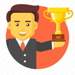 businessman, reward, success, trophy, victory, winner icon