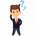 businessman scratching head, confused businessman, hard decision making, thinking business character, thinking businessman icon