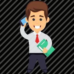 businessman with smartphone, businessperson, dealer, investor, trader icon