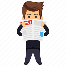 business character, businessman, businessman morning-reading, businessman reading newspaper, serious businessman icon