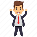 business character, happy businessman, joyful happy businessman, successful business person, winner emotions icon