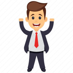 business character, happy businessman, joyful happy businessman, successful business person, winner emotions icon