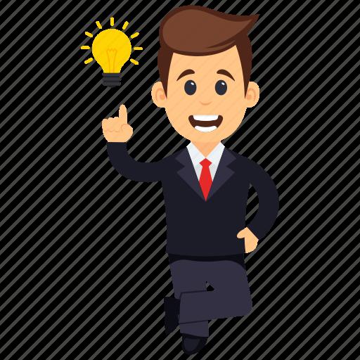 business character, businessman has an idea, businessman idea, businessman with light bulb, idea and creativity concept icon