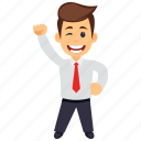 business character, businessman wink, friendly businessman, happy businessman, satisfied businessman icon