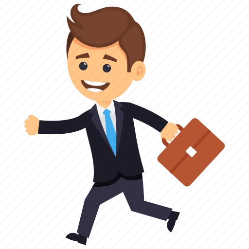 business character, businessman in hurry, businessman running with briefcase, hurry businessman running, hurrying man icon