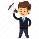 business administrator, business announcement, business marketing, business meeting, businessman holding megaphone icon