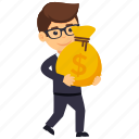 business profit, businessman holding money bag, investor, rich businessman, wealthy businessperson icon