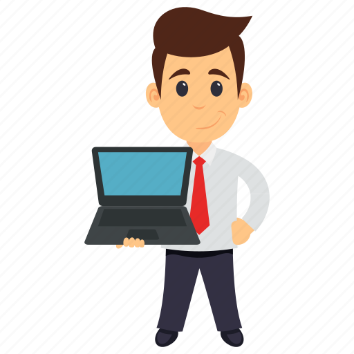 business character, businessman in office, businessman using laptop, businessman with laptop, businessman working on laptop icon