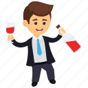boozing businessman, business character, businessman drinking, drunk businessman, happy drunk businessman icon