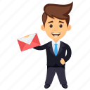 business character, business communication, business email, business letter, businessman holding letter icon