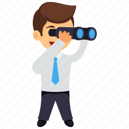 business vision, businessman mission, businessman with binocular, prospects for future business, vision and mission icon