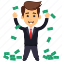 business profit, businessman with money, money rain concept, successful businessman, wealthy businessman icon
