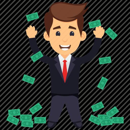 business profit, businessman with money, money rain concept, successful businessman, wealthy businessman icon