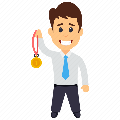 businessman of the month, employee of the month, gold medal winner, gold medalist, medal winning businessman icon