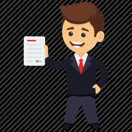 business award certificate, business certificate, businessman of the month, businessman of the year, businessman with certificate icon