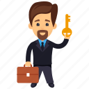 business character, businessman holding key, businessman with gold key, businessman with key, key to success icon