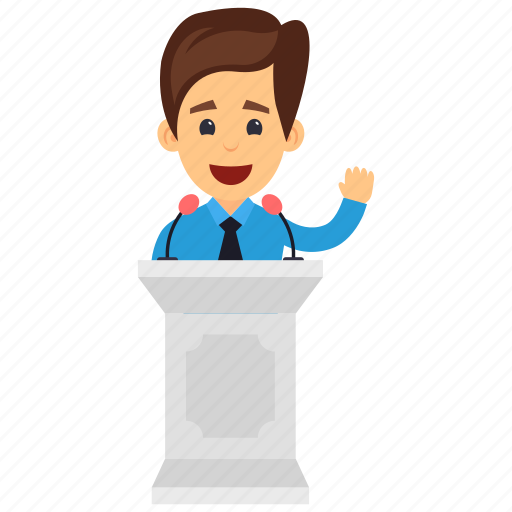 business conference, business meeting, business seminar, business speech, businessman giving speech icon