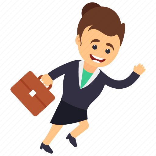 business character, business woman in hurry, business woman running with briefcase, hurry business woman running, hurrying woman icon