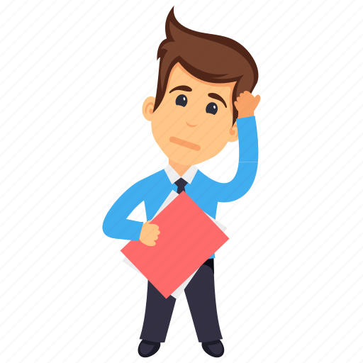 business character, business manager, businessman holding file, thinking businessman, young businessman icon