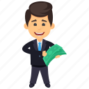 business profit, businessman with cash, businessman with money, money man, rich person icon
