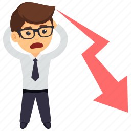 business graph, business graph shows business loss, business loss, businessman in loss, financial loss icon