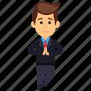 businessman in namaste pose, businessman namaste greeting, indian businessman, indian welcoming gesture icon