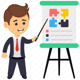 business meeting, business presentation, business seminar, business training, businessman presentation icon